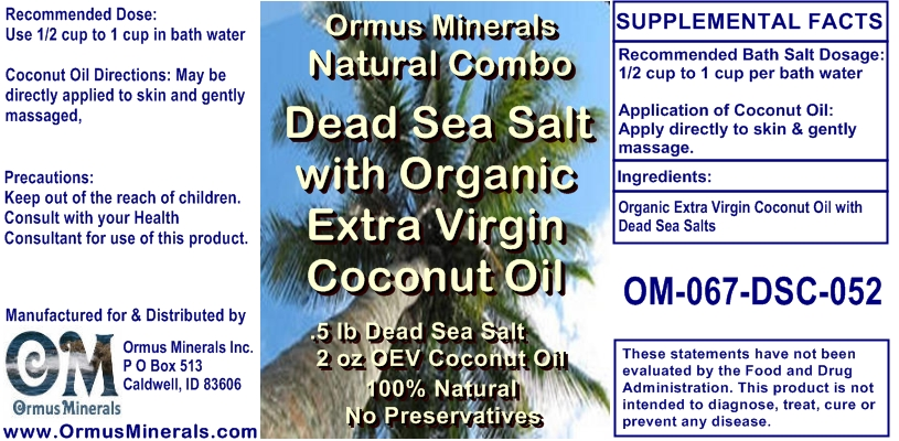 Ormus Minerals Dead Sea Salt with Organic Extra Virgin Coconut Oil Gift St