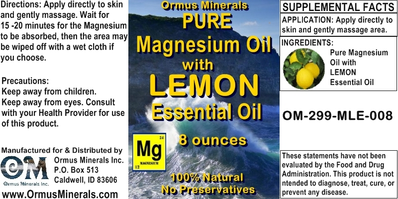 Ormus Minerals - Magnesium Oil with Lemon Essential Oil